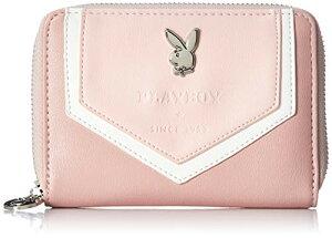 [プレイボーイ] 財布 レディース 二つ折り ラウンドファスナー ホームベース ピンク