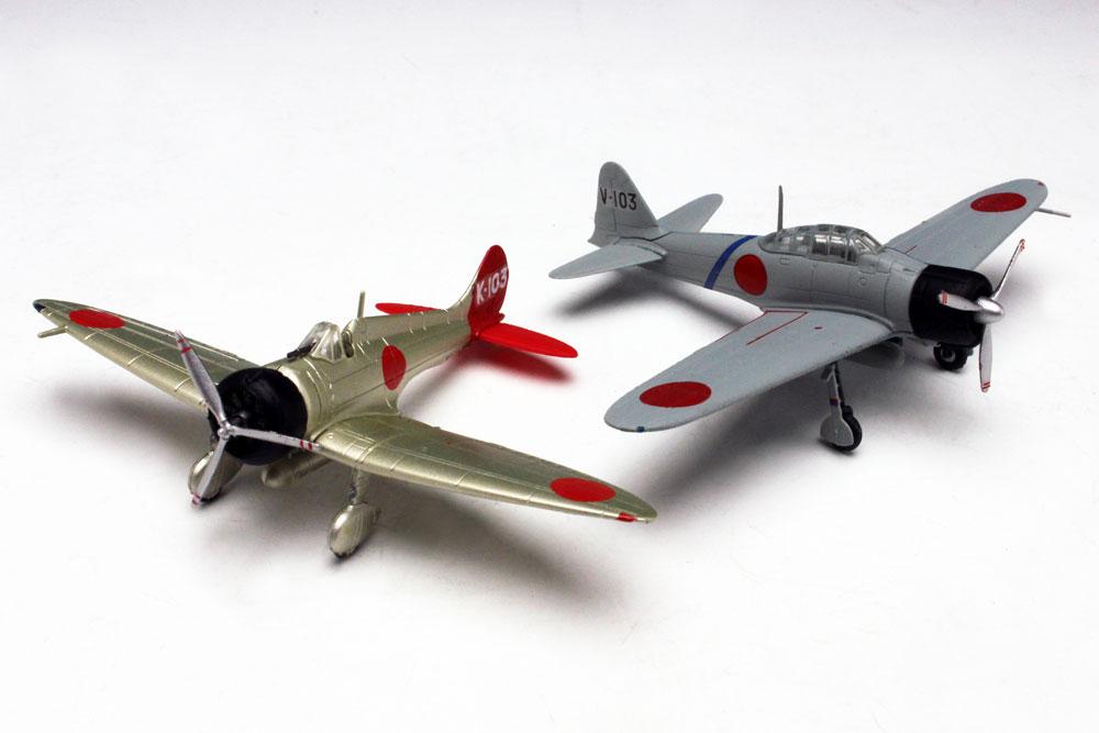 プラッツ/エフトイズ 1/144 日本海軍 九六式艦上戦闘機&零式艦上戦闘機二一型(2機セット)