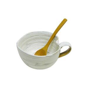 42653 波佐見焼 粉引 納豆鉢(さじ付) 食器 カトラリー グラス[▲][AB]