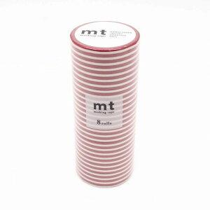 mt マスキングテープ 8P ボーダー・いちご MT08D382 文房具 事務用品[▲][AB]