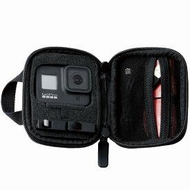 [エレコム]GoPro HERO 8/7 ケース セミハード アクセサリー 収納 メッシュポケット付 ハンドル付 アクションカメラ Mサイズ ブラック[▲][EL]