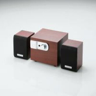 "With subwoofa 2.1 stereo speaker [ELECOM (cute), a compact ""small wood speakers' MS-W02WCH hobinavi"