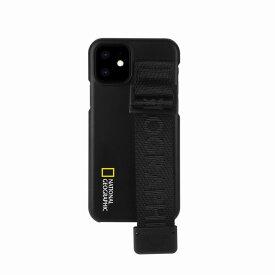【National Geographic】[公式ライセンス品]iPhone12 mini Strap Signature Case ブラック 背面カバー型 スマホケース[▲][R]