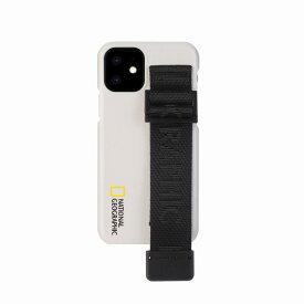 【National Geographic】[公式ライセンス品]iPhone12 mini Strap Signature Case ホワイト 背面カバー型 スマホケース[▲][R]