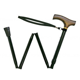 ウェルファン 夢ライフステッキ 折りたたみ伸縮杖 ブラック 全長78〜88cm 婦人用・女性用 高齢者