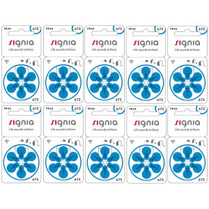 【ネコポス便なら送料無料】シグニア 補聴器用空気電池PR44(675) 10パックセット(60粒入り)