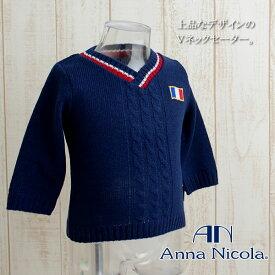 【ネコポス便送料無料!】Anna Nicola(アンナニコラ) ダブルジャガードVネックセーター 日本製【RCP】