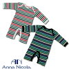 Baby multi-border long sleeve romper AnnaNicola [made in Japan] c74