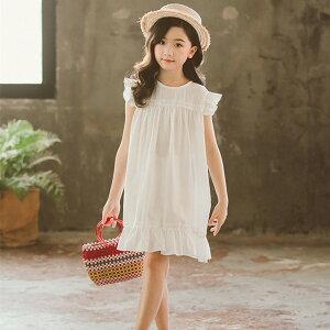 キッズ ワンピース 夏 ノースリーブ 綿100(%)韓国 白 ピンク フリル袖 女の子 子供服 発表会 結婚式 110 120 130 140 150 160cm