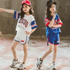 韓国子供服 セットアップ 上下セット 女の子 2点セット Tシャツ+ショーツ 純綿 個性プリント スポーツウェア スポーツ大会 運動着 ゆったり キッズ プリント 夏着 普段着 ホワイト ブルー 110cm 120cm 130cm 140cm 150cm 160cm