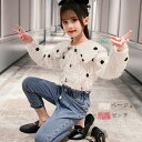 韓国子供服 セットアップ 秋服 新作 女の子 ドット柄シャツ+ジーンズ 上下セット 長袖 ラペル オシャレ 可愛い ガール…