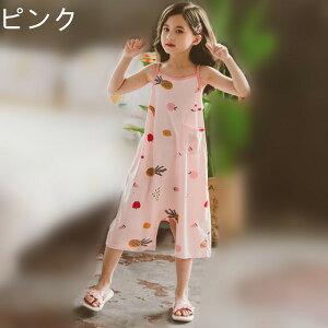 韓国子供服 パジャマ キッズ パジャマ 綿 袖なし カバーオール パジャマ おしゃれ 可愛い 寝巻 ルームウェア 女の子 夏用 部屋着 ピンク 110cm 120cm 130cm 140cm 150cm 160cm