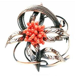 赤サンゴ(胡渡)手グス編みブローチ丸玉 約2.3〜2.4mm メッキ