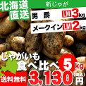 【送料無料】北海道産ジャガイモFセット(男爵薯&メークイン)6kg【新じゃが/いも/イモ/薯/新じゃが/ジャガイモ/じゃがいも/北海道/北海道産/お取り寄せ/秋の味覚/野菜】