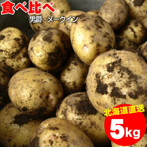 2020年ご予約承り中 10月出荷開始新じゃが じゃがいも 送料無料 北海道産 食べ比べセット 5kg(男爵3kg・メークイン2kg/計5kg)【5kg 5kg 5キロ 男爵 いも イモ 薯 ジャガイモ 食べくらべ 北海道