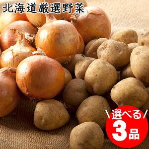 2020年ご予約承り中10月出荷開始北海道 じゃがいも 送料無料 市場の目利きが選んだ「北の厳選野菜」選べる3品セット【ジャガイモ いも 薯 芋 男爵 キタアカリ きたあかり メークイン インカ