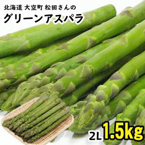 今季出荷開始送料無料 北海道 大空町 松田さんのグリーンアスパラガス(ハウス栽培・2Lサイズ)1.5kg【北海道産 1500グラム アスパラ ベーコン グリーン 緑 大きい 2Lサイズ 特大サイズ 春野菜