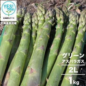 2021年ご予約承り中 5月出荷開始送料無料 北海道長沼産 イエスクリーン栽培 グリーンアスパラ(2L)1kg【1kg 1キロ 1kg アスパラ あすぱら アスパラガス グリーン 緑 お取り寄せ ギフト 旬 産地