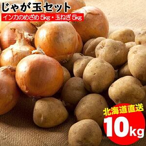 今季出荷開始中!越冬じゃがいも 送料無料 北海道産 じゃが玉セット インカのめざめ 5kg(S〜2L混合)&玉ねぎ 5kg(L〜L大) 合計10kg【10キロ 10キロ 10kg 秋野菜 ジャガイモ いんかのめざめ 北海道