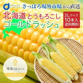 とうもろこし ゴールドラッシュ 10本セット 送料無料 トウモロコシ L〜2L 北海道産 とうきび スイートコーン 訳あり お中元 ギフト