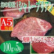 飛騨牛A5等級ヒレステーキ100g5枚/シャトーブリアン/牛/ステーキ/送料無料/冷蔵