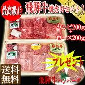 送料無料/A5飛騨牛焼肉用カットロース200g+カルビ200g/6月限定飛騨牛ハンバーグ2個付/冷凍便