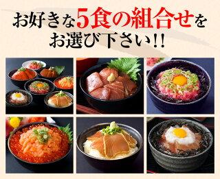 【海鮮丼お試しセット】(マグロ漬け1p・ネギトロ1P+サーモンネギトロ1p+炙りまぐろ1P+びんちょうまぐろ1P)計5食