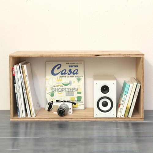 【キューブボックス・Lサイズ】北海道産カラマツ合板・おしゃれ収納 [塗装なし]1個・木材・ウッド・木箱・木製()