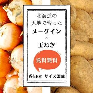 【送料無料】 北海道産 メークイン・玉ねぎセット 各5kg サイズLM混載 【農家直送】 じゃがいも 新じゃが お取り寄せ ギフト