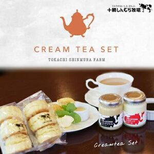 【クール便】十勝しんむら牧場 クリームティセット ミルクジャムプレーン1個 クロテッドクリーム1個 紅茶100g 自家製スコーン6個