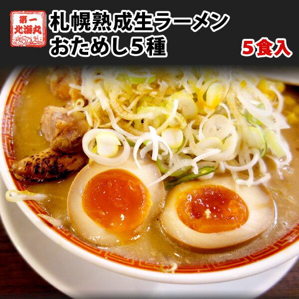 ラーメン 送料無料 北海道 5食セット 札幌熟成生麺 5種スープ食べ比べ ポッキリ 醤油 みそ 塩