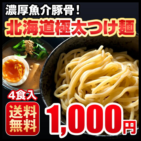つけ麺 4食 濃厚魚介豚骨 北海道 極太生麺 ラーメン お取り寄せ 送料無料