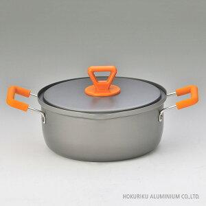 らうめん亭 両手鍋 20cm ガス火鍋 両手 2〜3人用 日本製 アルミ アルマイト ラーメン鍋 目盛り付き かわいい