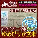 JAふらの YES!クリーン米 ゆめぴりか 玄米 30Kg 送料無料 【第一区分】 【北海道米】 【1等米】 【28年産】