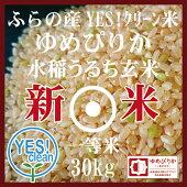 新米JAふらのゆめぴりか玄米30KgYES!クリーン米第一区分北海道米1等米30年産