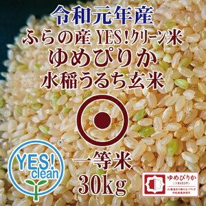 訳あり米 令和元年産 JAふらの ゆめぴりか 玄米 30Kg YES!クリーン米 第一区分 北海道米 一等米 送料無料