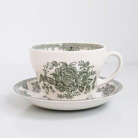 Burleigh Green Asiatic Pheasants Breakfast Cup & Saucerバーレイ グリーン アジアティックフェザンツ ブレックファストカップ&ソーサー