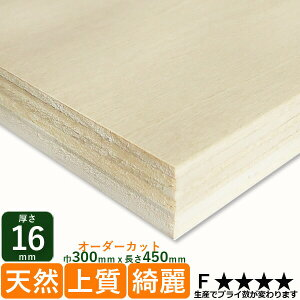ベニヤ板 シナ共芯合板厚さ16mmx巾300mmx長さ450mm 1.25kg安心の低ホルムアルデヒド DIY 木材 端材