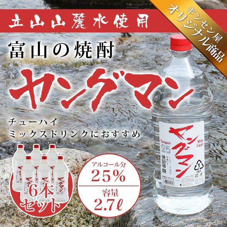 焼酎甲類 1ケース(6本) 富山の甲類焼酎 25% ヤングマン 2.7L 【同梱不可】【業務用向け】 焼酎甲類