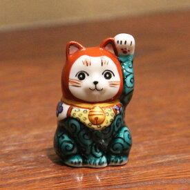 九谷焼招き猫(左手人お客招き猫)2号唐草文[ちび招き猫 豆招き猫]