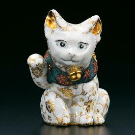 仲田錦玉 九谷焼4号招き猫(右手金運招き猫)盛金青白粒AP5-4013