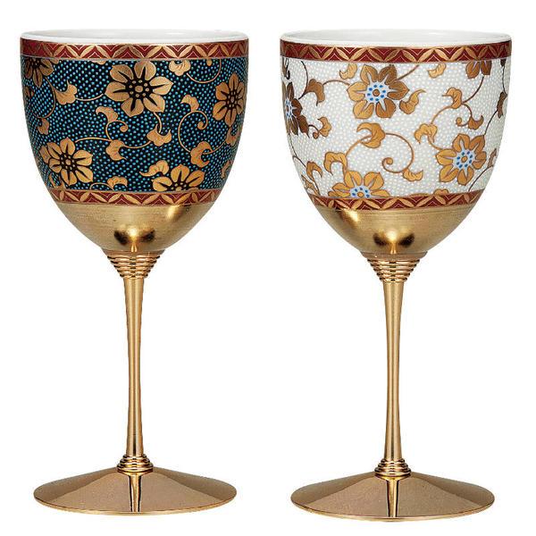 九谷焼 ペアワインカップ 青粒鉄仙&白粒鉄仙K5-1129[ペアワイングラス]