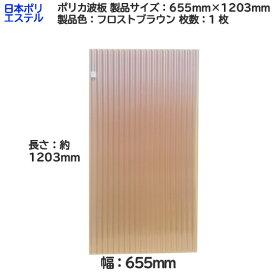 [ アウトレット ] 日本ポリエステル ポリカ波板 1枚 製品色:フロストブラウン サイズ:幅 655mm×長さ 1203mm