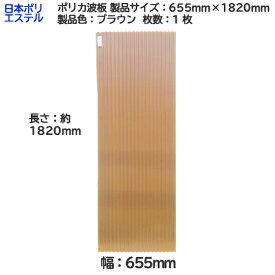 [ アウトレット ] 日本ポリエステル( ニッポリ ) ポリカ波板 1枚 製品色:ブラウン サイズ:幅 655mm×長さ 1820mm