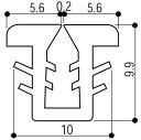 YKKAP窓サッシ 部材 ガラスビート カット品:9mm開口・ガラス厚2mm・3mm用(K-6429)1m