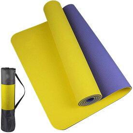 ヨガマット 6mm TPE エクササイズマット フィットネスマット トレーニングマットTPEリング保護素材 軽量 耐久性 肌に優しい 両面の滑り止 屋内運動 ピラティスマット持ち運び 収納簡単