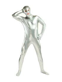 全身タイツおもしろい 服 ホワイト シルバー 人気者 なりきり 大人用 zentaiアイテム(着脱簡単)フロントジッパー 忘年会 クリスマス会 大人用 メンズ レディース パーティー パーティーグッズ ハロウィン
