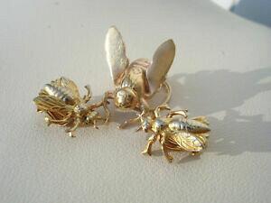 【送料無料】ジュエリー・アクセサリー アンティークジュエリーブローチイヤリングjoli lot de deux bijoux anciensinsectesbrocheboucles doreilles