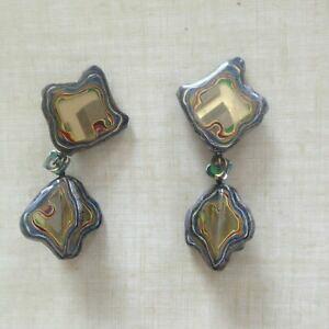 【送料無料】ジュエリー・アクセサリー ヴィンテージイヤリングプラスチッククリップgrandes boucles doreille vintage clips plastique ancien