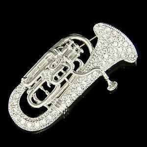 【送料無料】ジュエリー・アクセサリー スワロフスキーユーフォニアユーフォユーフォバリトンホーンミュージックブローチチューバtuba avec cristal swarovski euphonium eupho euph baryton corne musique broc